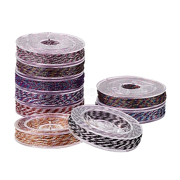 PandaHall Elite Metallic Cords, 12-Ply, Mixed Color, 0.5mm, about 10.93 yards(10m)/roll, 9rolls/set(MCOR-PH0001-04)
