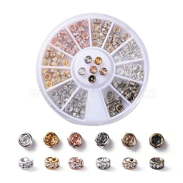 Brass Rhinestone Spacer Beads, Grade AAA, Straight Flange, Nickel Free, Mixed Metal Color, Rondelle, Crystal, 4x2mm, Hole: 1mm; 6colors, 20pcs/color, 120pcs/box(RB-X0013-10-NF)