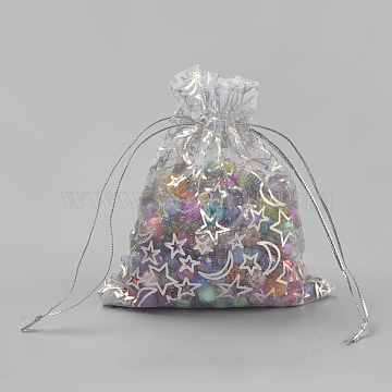 Organza Gift Bags, Rectangle with Moon & Star Pattern, White, 12x9cm(OP-Q045-9x12-01)