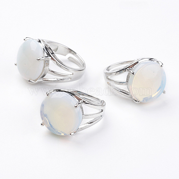 Adjustable Opalite Finger Rings, with Brass Findings, US Size 7 1/4(17.5mm), gemstone: 16mm(X-RJEW-F075-01P)