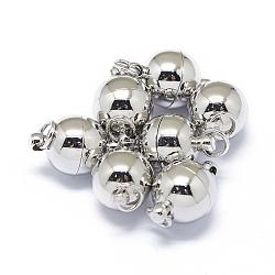 Fermoirs magnétiques en laiton de placage rack, aimant puissant de grade n45, avec anneaux de saut soudés, Plaqué longue durée, rond, Platine plaqué réel, 15.5x10mm, trou: 3.5 mm; anneau: 5x0.5 mm(X-KK-F801-03B-P)
