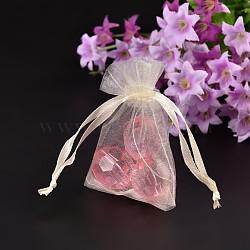 Sacs en organza, sacs de fête des mères, blanc crème, 12x10 cm(X-OP001-10)