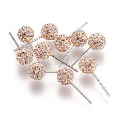 Sexy valentines cadeaux de jour pour son argent sterling strass cristal autrichien balle boucles d'oreille, 391 _silk, 15x6mm, pin: 0.8 mm(Q286J201)
