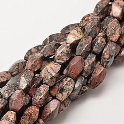 """Jaspe en peau de léopard naturel, 16x8mm, trou: 1mm; environ 25 pcs/chapelet, 15.7""""(G-P093-04)"""