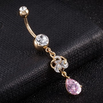 Piercing Jewelry, Environmental Brass Cubic Zirconia Navel Ring, Belly Rings, with Use Stainless Steel Findings, Real 18K Gold Plated, Teardrop, Pink, 50x8mm(AJEW-EE0003-29B)