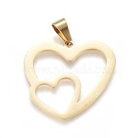 304 подвески из нержавеющей стали, Подвески с большими отверстиями, Двойное сердце, золотые, 31x33x1 мм, отверстие : 9 мм