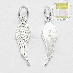 925 Sterling Silver Pendants, Wing, Carved with 925, Silver, 20.5x6x1.5mm, Hole: 4mm(X-STER-K170-06S)