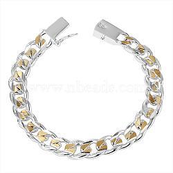 Bracelets en laiton en laiton unisex, avec mousquetons, Placage de couleur argentée et or, 200x10 mm(BJEW-BB12492)