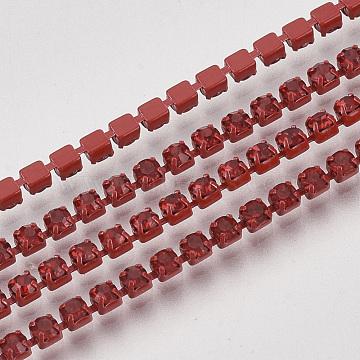 Red Brass+Rhinestone Rhinestone Chains Chain