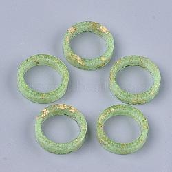 кольца из эпоксидной смолы, золотой фольгой, светящиеся / светящиеся в темноте, lawngreen, Размер 9, 19.5 mm(RJEW-T007-01D-06)