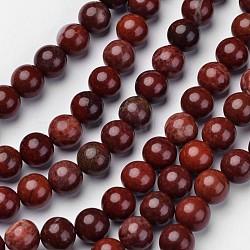 """Chapelets de perles en jaspe rouge naturel, rond, DarkRed, 10mm, trou: 1mm; environ 38 pcs/chapelet, 15.2""""(G-D809-15-10mm)"""