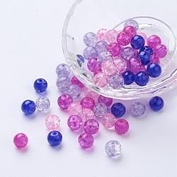 Perles de verre craquelé peintes, mélange de la Saint-Valentin, rond, couleur mixte, 8~8.5x7.5~8mm, trou: 1 mm; environ 100 PCs / sachet (DGLA-X0006-8mm-02)