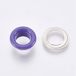 выводы люверса с железной втулкой, для изготовления пакетов, плоские круглые, платина, slateblue, 9.5x4.5 mm, Внутренний диаметр: 5 mm(IFIN-WH0023-E01)