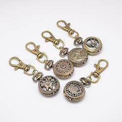 styles mélangés rétro porte-clés accessoires alliage montre à quartz pour porte-clés, avec mousquetons en alliage, plat rond, bronze antique, 80 mm(WACH-M041-M)