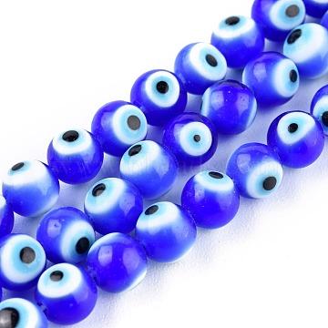 Handmade Evil Eye Lampwork Round Bead Strands, Blue, 6mm, Hole: 1mm; about 64pcs/Strand, 14.57''(37cm)(LAMP-L055-6mm-14)