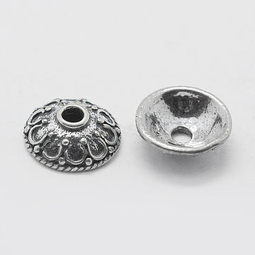 Thai 925 Sterling Silver Bead Caps, Apetalous, Antique Silver, 9x3mm, Hole: 1mm(STER-K171-30AS)