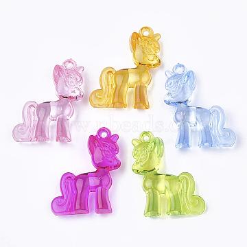 Transparent Acrylic Pendants, Unicorn, Mixed Color, 42.5x33x10mm, Hole: 3mm(X-TACR-S149-05)