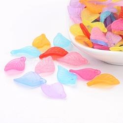 Mixtes pendentifs feuilles acryliques transparent dépoli, 18x11x3mm, Trou: 2mm(X-FACR-R007-M)
