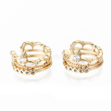 Brass Micro Pave Clear Cubic Zirconia Cuff Earrings, Nickel Free, Crown, Real 18K Gold Plated, 12.5x7.5mm, Inner Diameter: 12mm(KK-S356-153G-NF)