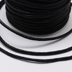 Round Braided Waxed Cotton Cords, Black, 1.7mm; about 10yards/roll(X-YC-L002-01)