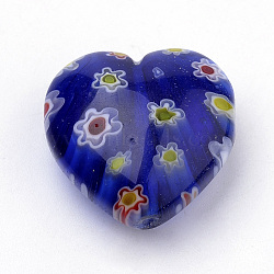 Handmade Millefiori Lampwork Beads, Heart, Blue, 21~22x21~22x10.5~11mm, Hole: 1mm(X-LAMP-S187-03C)