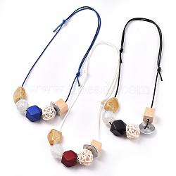 colliers à bretelles réglables, avec des perles acryliques, des billes de bois, perles tissées et cordon en polyester ciré, couleur mélangée, 14.96 25.98 cm)(NJEW-JN02580-M)