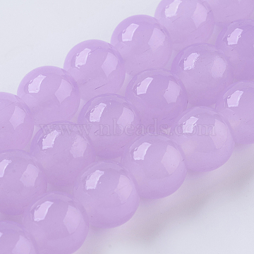 Glass Beads Strands, Imitation Jade, Round, Lilac, 8mm, Hole: 1mm, about 50pcs/strand, 15.7 inches(40cm)(X-GLAA-I039-8mm-07)