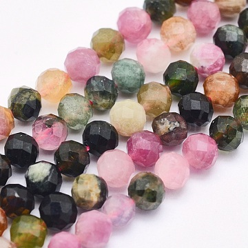 Natural Tourmaline Beads Strands, Round, Faceted, 4mm, Hole: 0.5mm; about 93pcs/strand, 15.5inches(39.5cm)(G-O166-27-4mm)