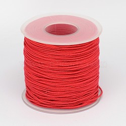 Braided Round Cotton String Thread, Macrame Cord, Red, 0.8mm; about 150m/roll(OCOR-K002-0.8mm-01)