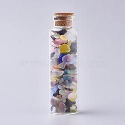 bouteille en verre qui souhaitent, pour la décoration de pendentif, avec des perles d'éclat d'oeil de chat à l'intérieur et un bouchon en liège, 22x71 mm(DJEW-L013-A06)