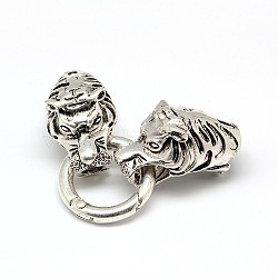 Tibetan Style Alloy Animal Tiger Head Spring Gate Rings, O Rings with Two Cord Ends for Bracelet Making, Antique Silver, 67x24.5mm, Hole: 10mm(PALLOY-A063-03AS)