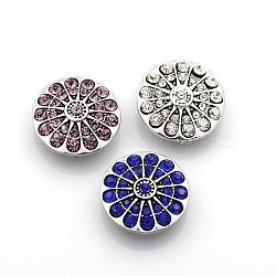 Boutons-pression de bijoux en émail en alliage de zinc rond et plat, avec la classe A strass grade A, argent antique, sans plomb & sans nickel & sans cadmium , couleur mixte, 21x8 mm; bouton: 5.5 mm(SNAP-N010-83-NR)