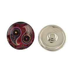 Boutons en laiton, boutons pression de bijoux de feuille, avec cabochons de verre, plat rond, de couleur métal platine , coconutbrown, 18x10 mm; bouton: 5 mm(X-GLAA-S041-01)