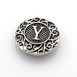 Boutons à pression de bijoux de lettre d'émail d'alliage de zinc de ton argent antique, plat rond, sans plomb & sans nickel & sans cadmium , letter.y, 19x6 mm; bouton: 5 mm(SNAP-N010-86Y-NR)
