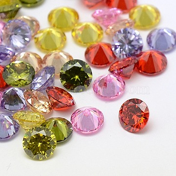 Mixed Grade A Diamond Shaped Cubic Zirconia Cabochons, Faceted, 7x4mm(X-ZIRC-M002-7mm)