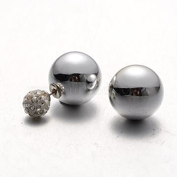 Silver Plastic Stud Earrings