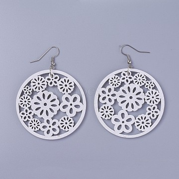 Wood Dangle Earrings, with Platinum Tone Iron Earring Hooks, Flat Round with Flower, White, 70mm; Pendants: 49.5x2~2.5mm; Pin: 0.5mm(X-EJEW-L219-G01)