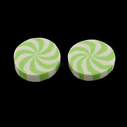 Plats ronds cabochons en argile polymère fait main, lightgreen, 20~21x5mm(CLAY-S085-15)