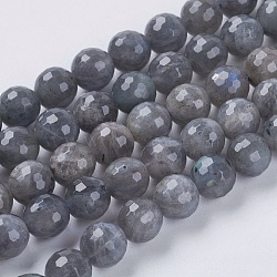 Natural Labradorite Beads Strands, Faceted, Round, Gray, Labradorite, 8mm, Hole: 1mm; about 50pcs/strand, 15.5inches