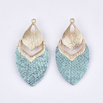 PU Leather Big Pendants, with Golden Plated Alloy Findings, teardrop, Medium Turquoise, 61x30.5x7mm, Hole: 2mm(X-FIND-S299-43D)