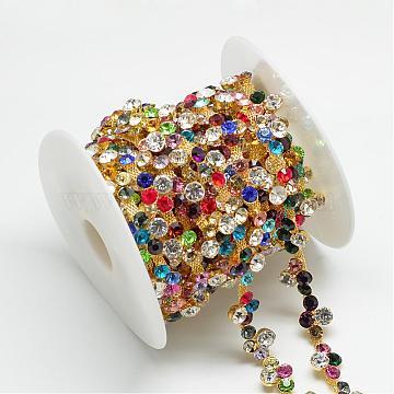 Wedding Dress Decorative Brass Rhinestone Chains, with Spool, Rhinestone Cup Chain, Golden, 14x6mm; about 5yards/roll(CHC-R127-80)