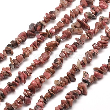 Natural Rhodonite Chip Bead Strands, 5~8x5~8mm, Hole: 1mm, about 31.5 inches(X-G-M205-24)
