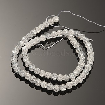 Synthetic Crackle Quartz Round Beads Strands, Clear, 6mm, Hole: 1.2mm, about 67pcs/strand, 15.5 inches(X-G-O030-6mm-17)
