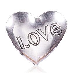 pendentifs en acier inoxydable, coeur avec amour, pour Saint Valentin, argent antique, 49x50x1.5 mm, trou: 4x5 mm(STAS-F082-01AS)
