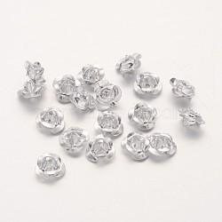 Aluminium 3 d fleur rose, perles métalliques minuscules, argenterie, 6x4.5mm, trou: 1 mm; environ 920~950 PCs / sachet (AF6mm001Y)