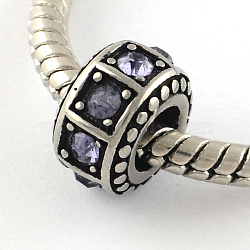Perles rondelle à gros trous avec strass vintage en 316 acier inoxydable, violette, 10x6mm, Trou: 5mm(STAS-R082-AA027-9)