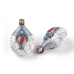 Pendentifs de style tibétain , avec turquoise synthétique, Accessoires en laiton, goutte , blanc, 26.5x38.5x21.5mm, Trou: 5.5mm(TIBEB-E079-14A)