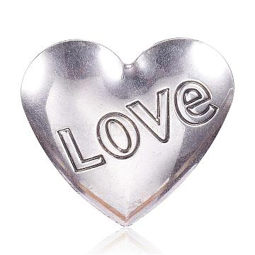 Stainless Steel Pendants, Heart with Love, For Valentine's Day, Antique Silver, 49x50x1.5mm, Hole: 4x5mm(STAS-F082-01AS)