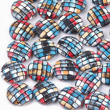 Imitation Leather Cabochons, with Aluminum Bottom, Flat Round, Platinum, Colorful, 15x5mm(X-WOVE-S118-19F)