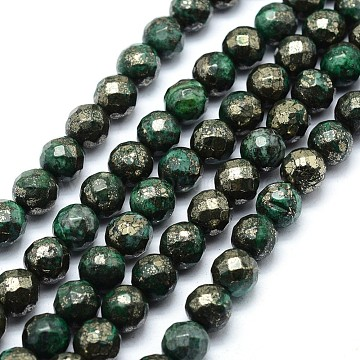 8mm Green Round Pyrite Beads